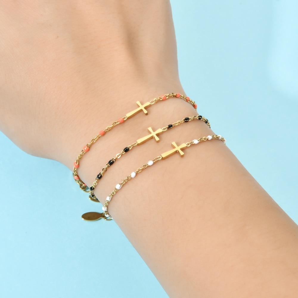 ZMZY Boho Thin Style Fashion Chain Jesus Christian Stainless Steel Bracelet Women Gold Charm Cross Bracelet Girls Jewelry