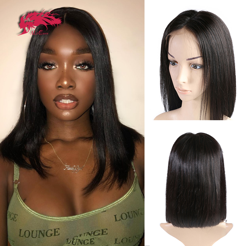 Brazilian Straight Short Wigs For Women Mid Length Cheap Lace Part Wig Black And Blonde 613 Color Remy Human Hair Lace Front Wig