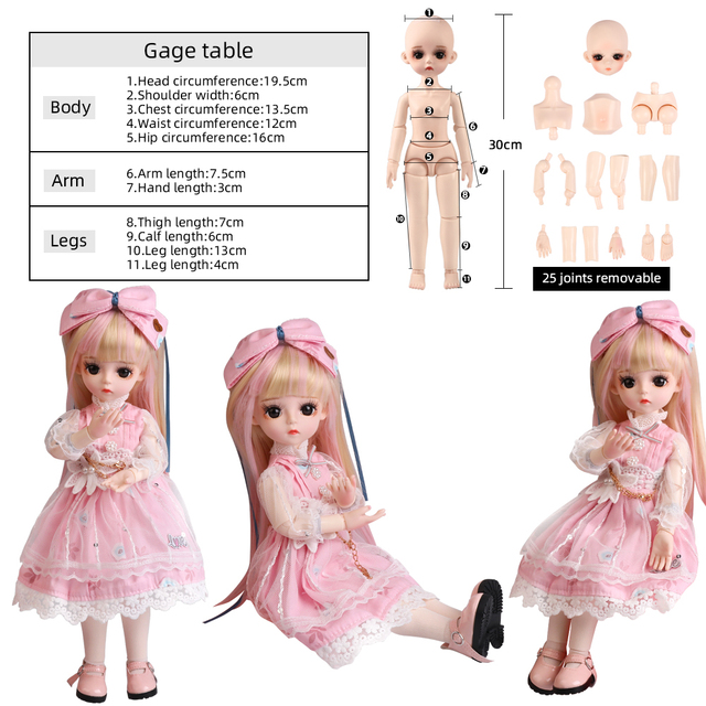 UCanaan BJD Doll 1/6 SD Doll 18 Ball Jointed Dolls With Full Outfits Dress Wig Headdress Shoes Makeup Girls DIY Dress UP Toys 5