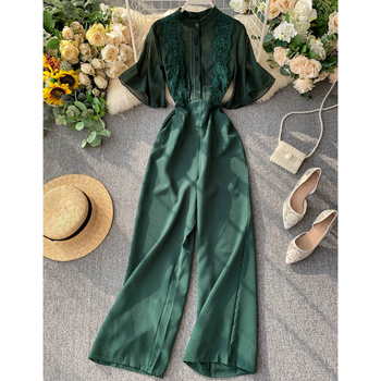 Rompers Women Summer Sexy Lace Chiffon Trumpet Sleeve Overalls Jumpsuits OL Ladies Wide Leg Trousers Loose Jumpsuit W1992