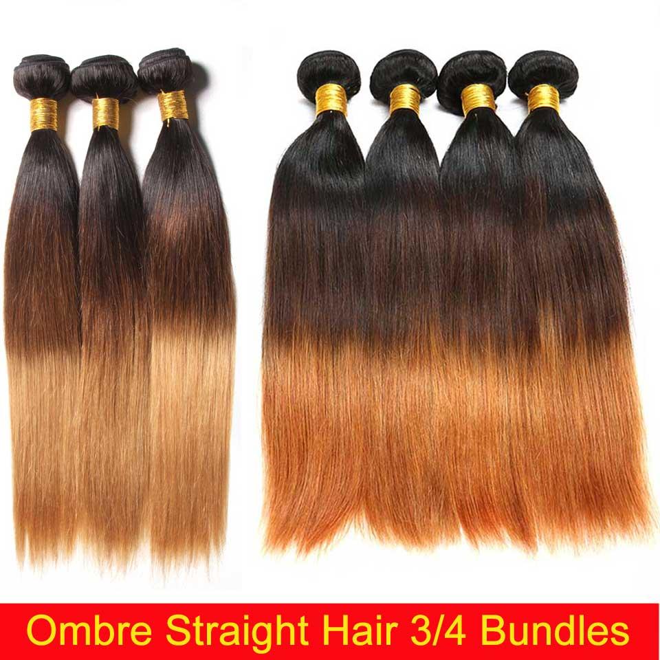 Mechones de cabello liso peruano Ombre 1B 4/27/30 Color 100% mechones de cabello humano postizo 8 26 pulgadas extensión de cabello Remy 3/4 mechones - 2