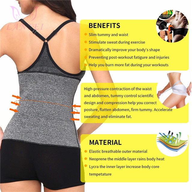 LANFEI Waist Trainer Body Shaper Slimming Belt Sauna Sweat Corset Women thermo Neoprene Tummy Control Cincher Strap Weight Loss 2