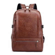 stereo retro wind backpack of 2019 wear-resistant and waterproof Pu shoulder bag men's laptop computer bag breathable schoolbag(China)