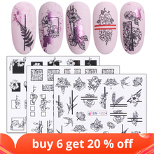 1pcs Black White Flowers Stickers For Nails Green Leaves Water Decal Slider Nail Art Wraps Manicure Decor Tattoo LABN1213 1224 2