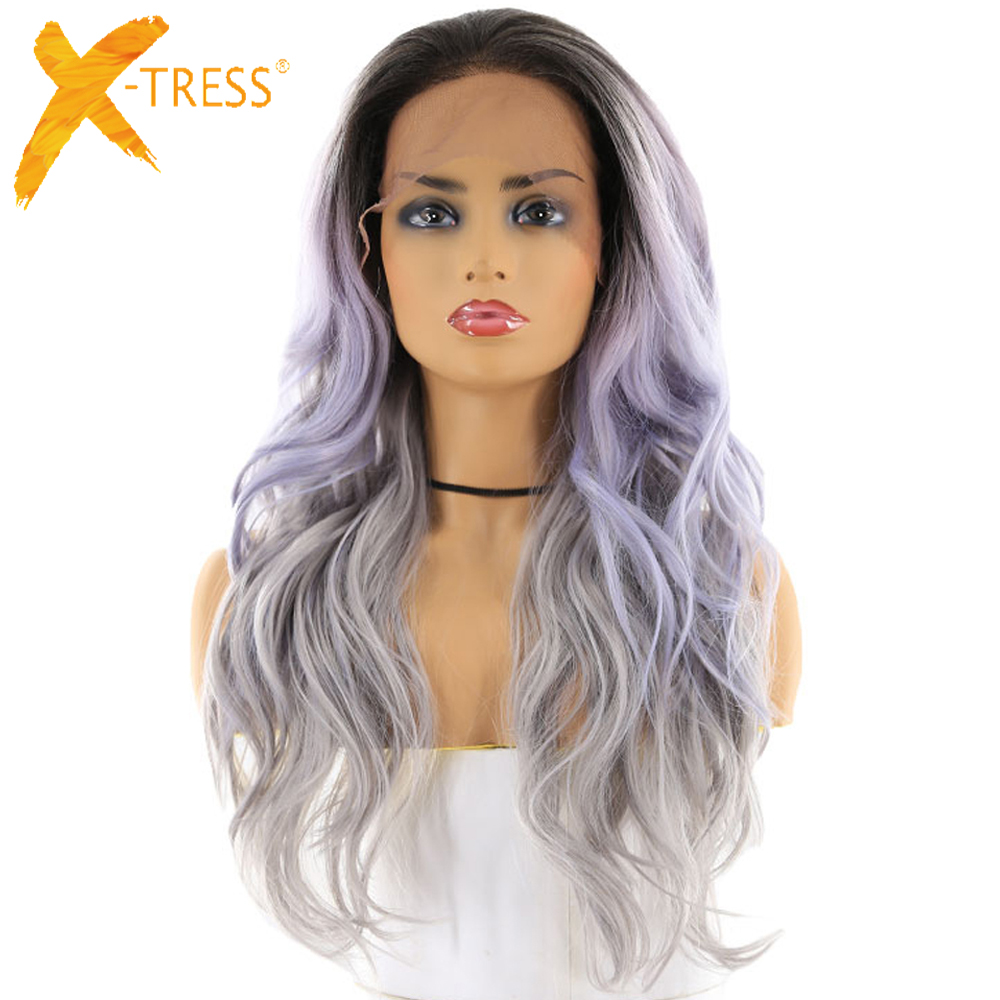 X-TRESS Wigs Synthetic-Hair Lace-Front Silver-Grey Ombre Wavy 13x4inch Black Color Women