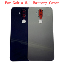 Original Back Battery Cover Rear Door Panel Housing Case For Nokia 8.1 X7 Back Cover with Camera Lens Logo Replacement Part