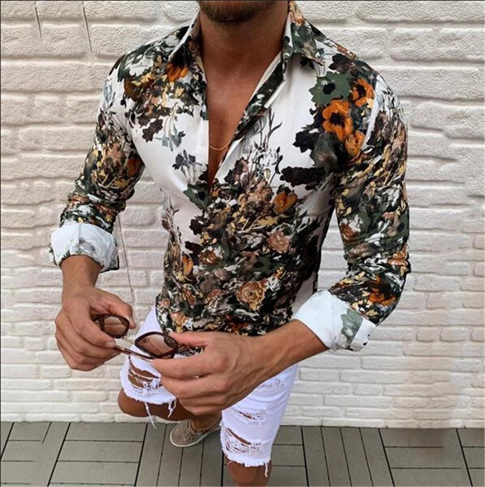 Men's Long Sleeve Autumn Casual Button-Down Shirts Top Fashion Holiday Floral Print Business Slim Muscle Tops