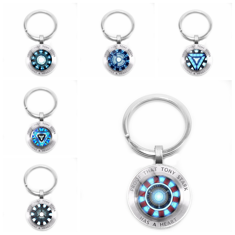 2019 Movie Surrounding Marvel Iron Man Tony Stark Arc Reactor Keychain Glass Cabochon Pendant Key Ring Jewelry