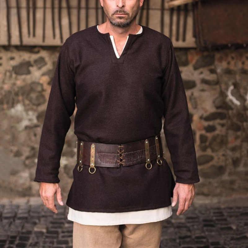 2 sztuk zestaw średniowieczny Larp tunika kostium Top mężczyzna etap Hunter koszula Cosplay znosić średnim wieku ubrania dla dorosłych S-XXXL