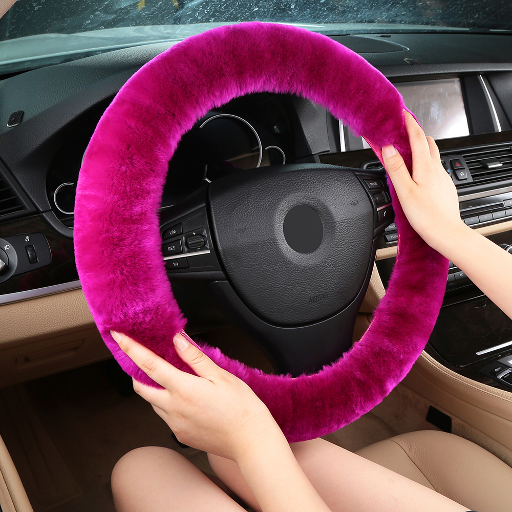 Authentic Sheepskin Car Stretch-on Steering Wheel Cover/Soft Australian Wool Vehicle braid on the steering-Wheel Protector