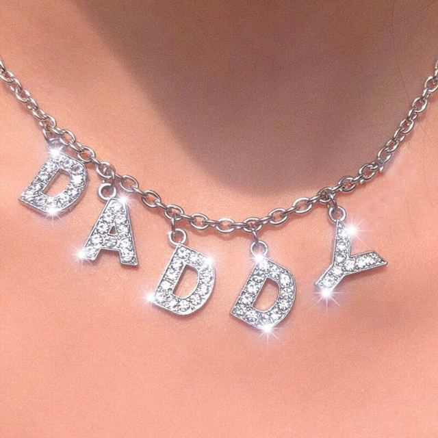 Angel Big Letter Bling Bling 90s Aesthetic Tumblr Chain Necklace Women Choker Unif Bitch Daddy Night Club Cool Accessory Unisex