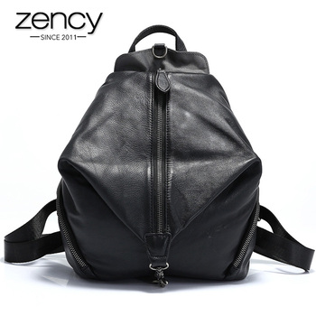 new arrival women backpack 100% genuine leather ladies travel bags preppy style schoolbags for girls knapsack holiday Zency 100% Genuine Leather Retro Women Backpack High Quality Schoolbag For Girls Daily Casual Travel Bag Black Grey Knapsack