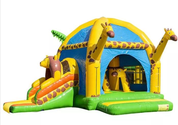 Giraff 풍선 경비원 성 재미 있은 어린이 풍선 moonwalk trampoline 콤보 슬라이드