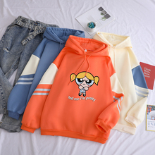 Print Sweatshirt Hooded-Clothes Harajuku Kawaii Winter Fleece Girls Color Hit Casual