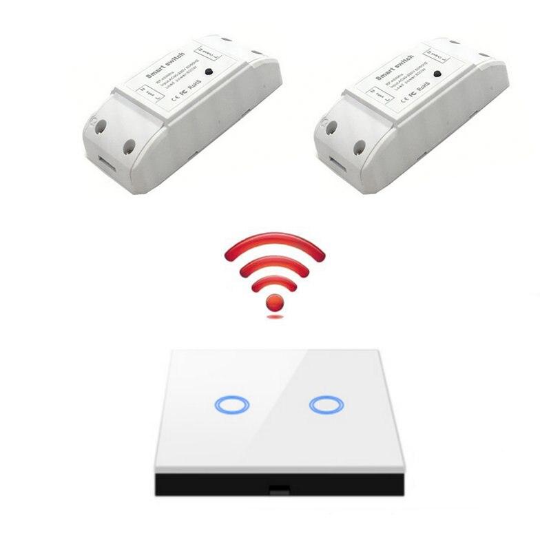 Interruptor inteligente inalámbrico 1/2/3 gang RF 433Mhz luz RF Control remoto receptor y transmisor de Panel de pared táctil para lámpara de techo Interruptor de pared estándar UE/Reino Unido, Interruptor táctil de Luz 2 Gang 1 Way AC110V 220V Interruptor táctil de pared
