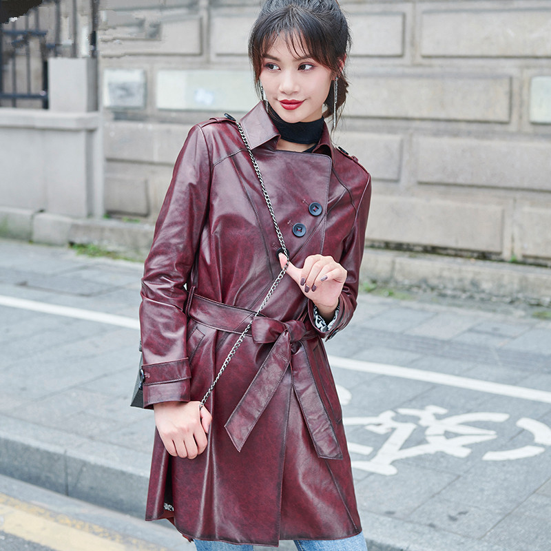 Sheepskin Real 100% Coat Female Genuine Leather Jacket Autumn Jacket Women Korean Long Trench Coats Chaqueta Mujer MY S