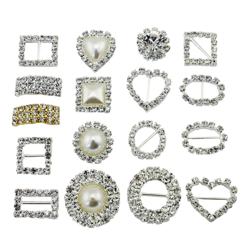 10 pcs / Pack Stunning Diamond Square/HeartRound/Pearl Rhinestone Buckle Ribbon Slide Diamante Buckle invitation accessories