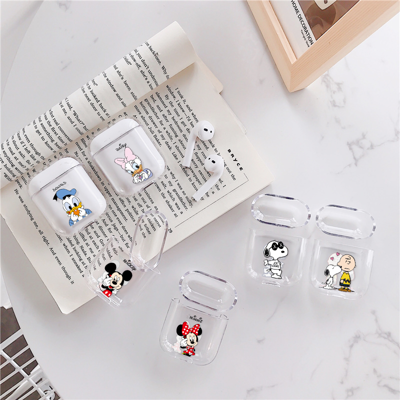 Cartoon Mickey Minnie Couple Case For Airpods Wireless Headphone Transparent Protective Cover For Apple Air Pods 1 2 Earphone