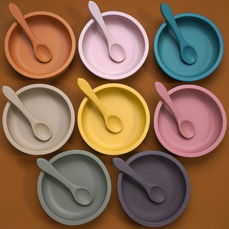 Одноцветная детская посуда, набор, портативная детская силиконовая тарелка, миска для кормления малышей, присоска для младенцев, посуда с с...