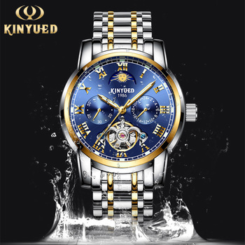 KINYUED Mechanical Waterproof Watches Mens Automatic Skeleton Business Watch Stainless Moon Phase Calendar Watches Reloj Hombre