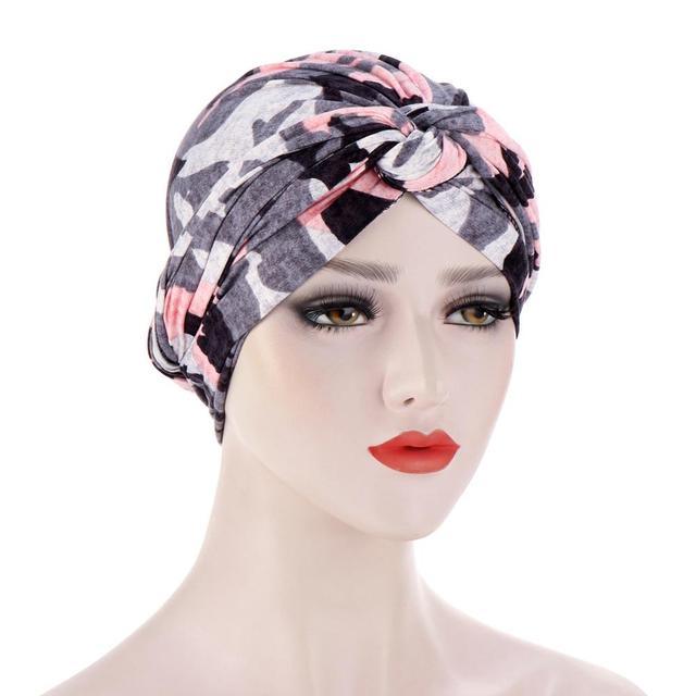 Фото новая шелковистая шапка тюрбан с вышитым бисером цветком и крестиком цена