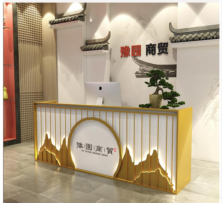 New Chinese Style Company Reception Desk Restaurant Front Desk Beauty Salon Modern Simple Cashier Desk Milk Tea Shop Counter Ord