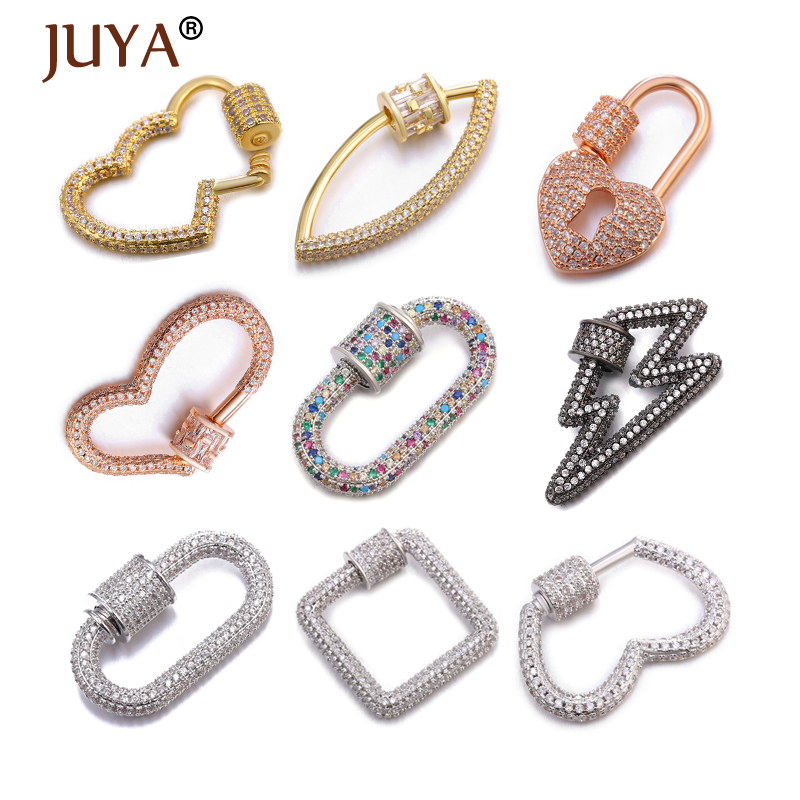 Juya Jewelry Clasps Cubic Zircon Fastener Screw Clasps Accessories For Luxury Jewelry Making DIY Necklace Bracelet Supplies