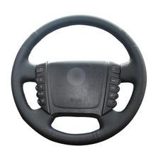 Custom Made DIY Anti Slip DIY Black Leather Car Steering Wheel Cover for Ssangyong Rexton W Rodius oem 1621533028 for ssangyong rexton stavic rodius crankshaft position sensor 1621533028