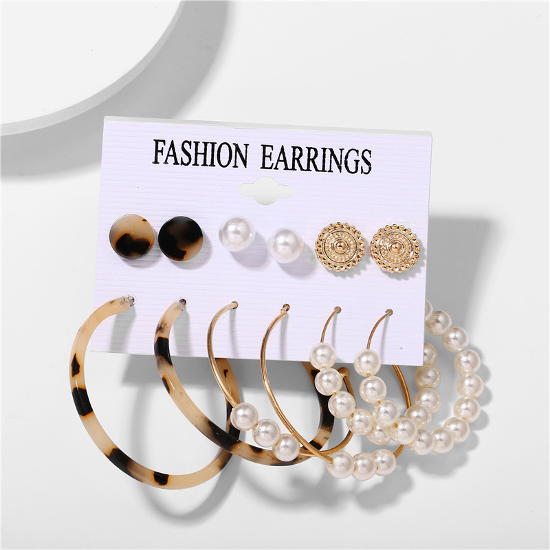 H86df6ba3aee042419cfafcc20237e06fl - IF ME Fashion Vintage Gold Pearl Round Circle Drop Earrings Set For Women Girl Large Acrylic Tortoise shell Dangle Ear Jewelry