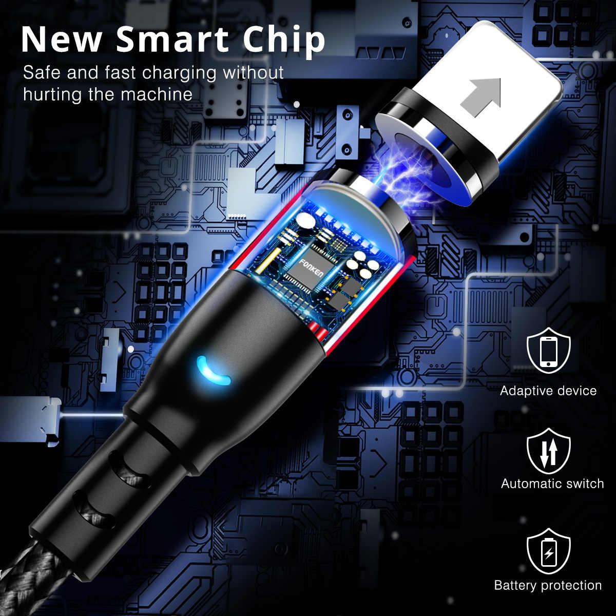 Fonken Loại C Từ Cáp Sạc Micro USB Cho iPhone Samsung Huawei Sạc Nam Châm Điện Thoại Di Động Sạc Nhanh dây