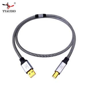 YYAUDIO Hi-End OCC посеребренный USB аудио кабель, кабель USB для передачи данных, DAC USB Hi-Fi кабель, usb-кабель, кабель для A-B