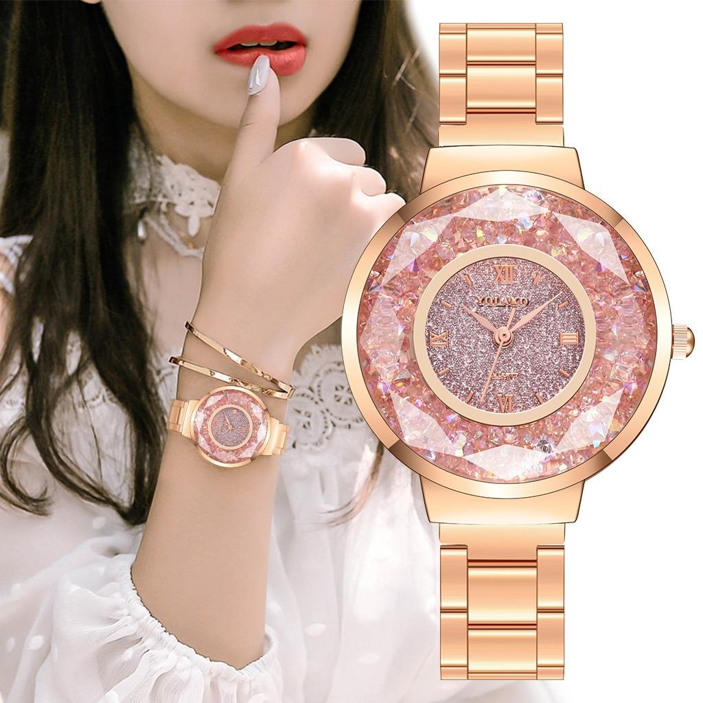 YOLAKO Women's Watches Casual Quartz Stainless Steel Band Starry Diamond Dial Ladies Wristwatch часы женские Reloj Mujer /d
