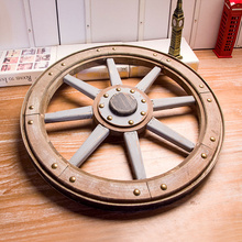 2021 Fashion Ancient Carriage Old Wooden Wheel Decorative Imitation Wheel Steering Wheel Personality Hotel Decorative Tire Mural