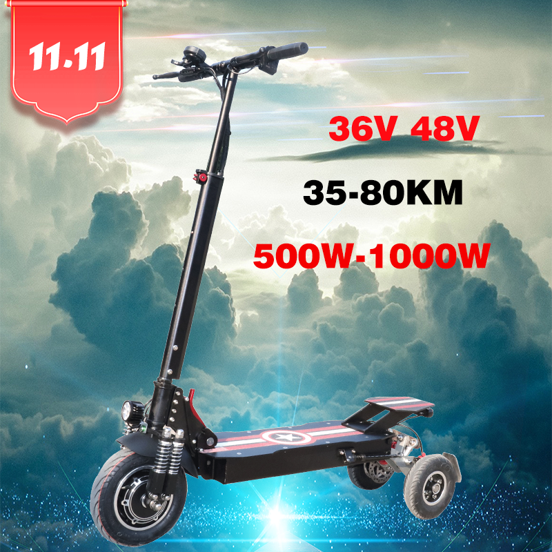 NEW Style 2019 500W 800W <font><b>1000W</b></font> Three Wheel Electric <font><b>Scooter</b></font> 80km Long Distance 150kg Max Load Lithium Battery Patinete Eletrico image