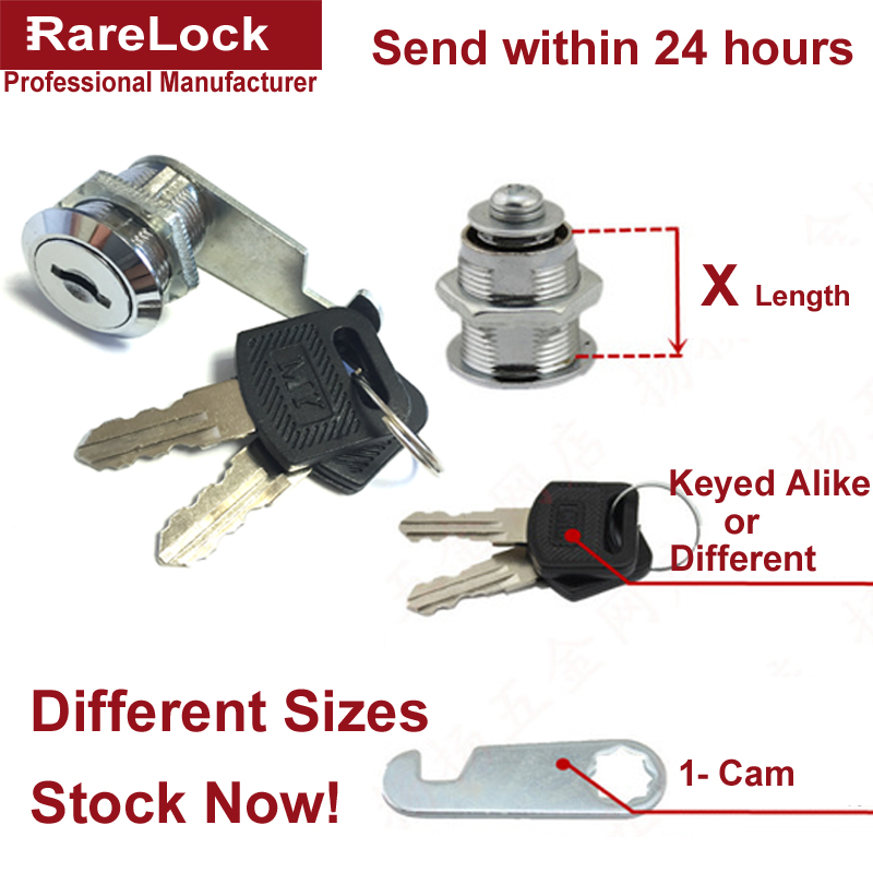 Rarelock Cabinet Cam Lock Different Sizes for Home Drawer Mailbox Storage Tool Box 2 Keys DIY Furniture Hardware MMS340 aa-in Locks from Home Improvement