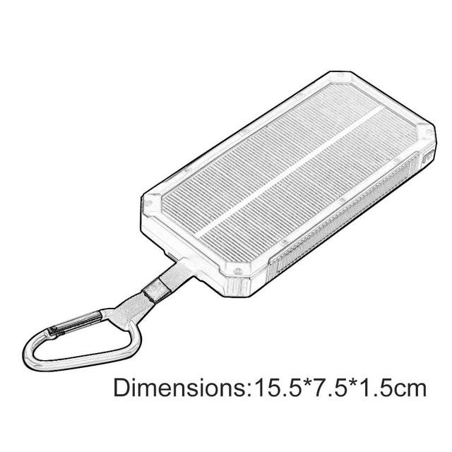 Portable Dual USB Port Solar Powered Power Bank SOS Camping Battery Power Supply Charger For Phones Portable Black convenient 6