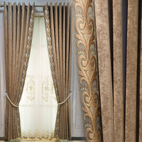 Custom curtains luxury Simple modern chenille living room embroidered coffee cloth blackout curtain tulle drape B043