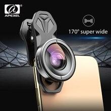 APEXEL 광학 전화 렌즈 HD 170 학위 슈퍼 와이드 앵글 렌즈 카메라 광학 렌즈 iPhonex xs max xiaomi 모든 스마트 폰