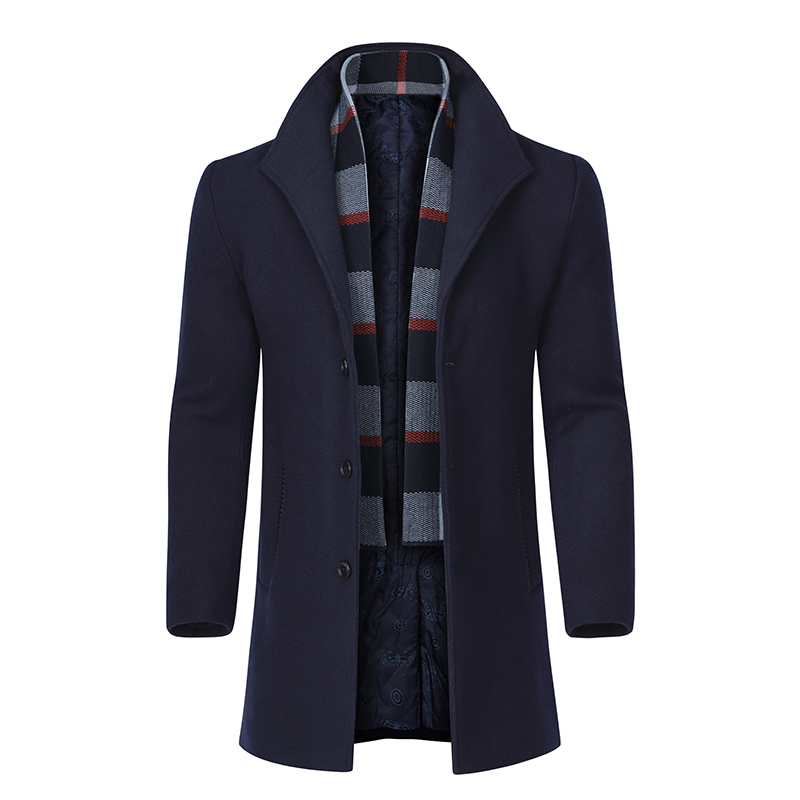 YOUTHUP Winter Men's Long Jacket With Scarf Wool Single Breasted Coats Overcoats Topcoat Mens Fitness Coat Streetwear M-4XL