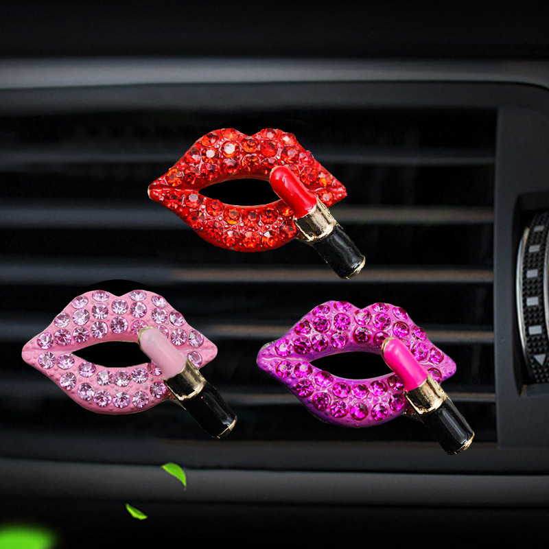 Car Air Freshener Outlet Perfume Clip Studded Red Mouth Car Perfume Clip Cute Car Solid Decorations For Girls  Car Ornaments