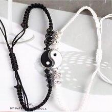 Couple Bracelets hématite cuir cordon tresse chaîne Bracelet chinois Tai Chi alliage pendentif deux pièces tissé amant Bracelet cadeau
