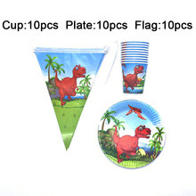 Red Dinosaur Theme Cup/ Plate/ Banner Tableware Sets for Children Happy Birthday Party Decoration Supplies 30PCS