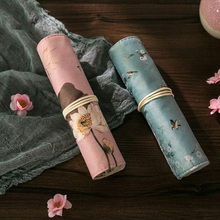 Vintage School Pencil Case for Girls Canvas Roll Up Pouch Portable Makeup Cosmetic Brush Pen Storage Pen Box Stationery Supplies