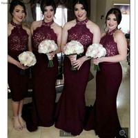Vintage Burgundy Country Style Bridesmaid Dress Halter Garden Formal Wedding Party Guest Maid of Honor Gown Plus Size