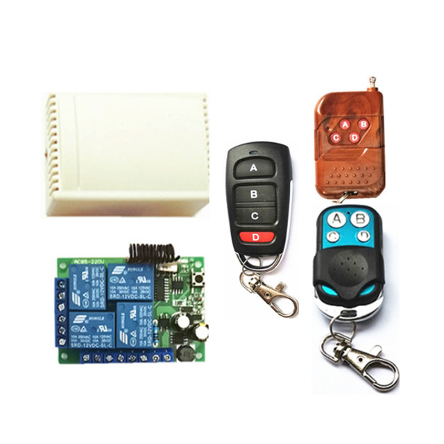 433Mhz universal wireless remote control switch AC220V 4 channel relay receiving module and 4 channel multi model RF remote cont