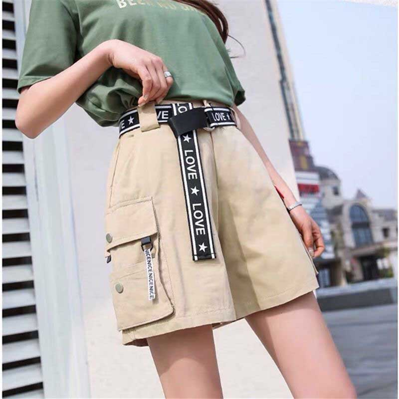 2020 Hip Hop Shorts Women BF Large Pocket Cargo Harajuku Loose Shorts Women Korean Ulzzang Trendy Street Summer Shorts G