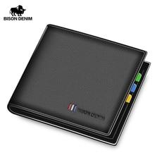 BISON DENIM 100% Cow Leather Wallet Men Fashion Bifold Card Holder Male Short Standard Purse High Quality N4475