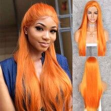BeautyTown peluca con malla frontal sintética para mujer, Cosplay liso resistente al White Heat, naranja, rojo, 1B, para fiesta de boda