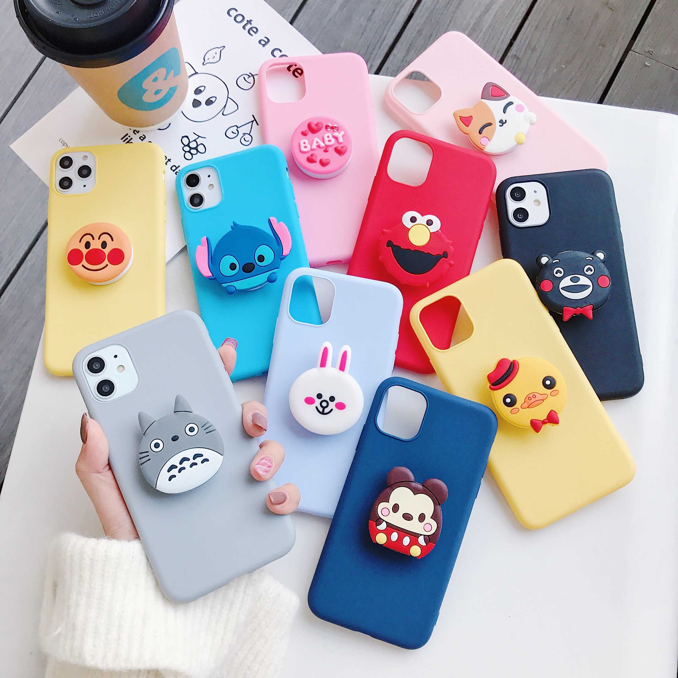 <font><b>3D</b></font> silicone cartoon phone holder case for <font><b>samsung</b></font> galaxy j8 j7 pro j6 <font><b>j5</b></font> j4 a6 a8 plus 2018 <font><b>2017</b></font> 2016 2015 cute stand back cover image