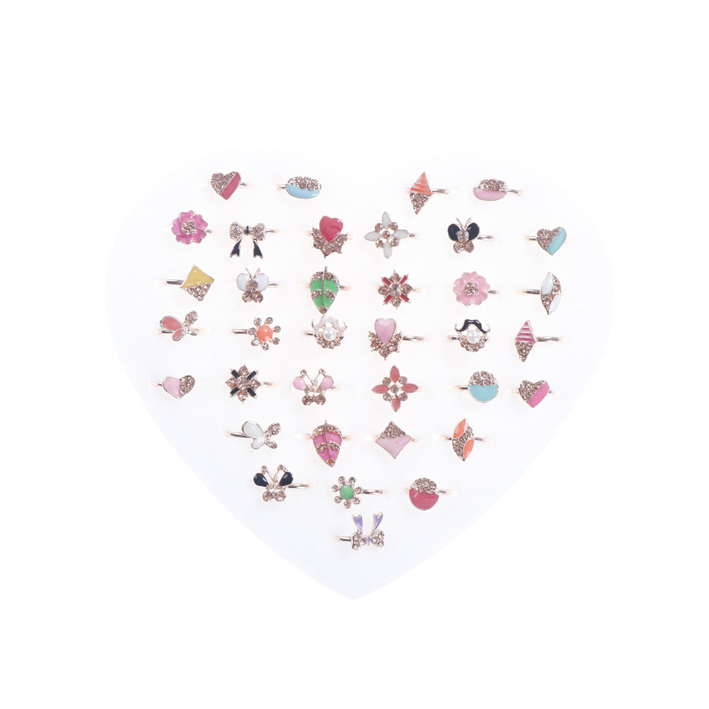 6Pcs Kids Ring Crystal Ring Child Party Small Size Adjustable Heart Ring Wholesale Diy Craft Toys